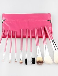 Professional 10 Pcs Goat Hair Makeup Brush Set Cosmetic Make Up Tools with Soft Leather Bag
