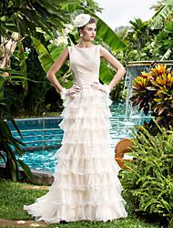 lanting vaina / columna vestido de novia - Pista de champán tren bateau organza