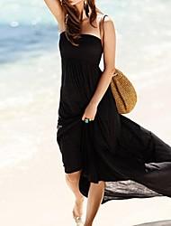 La playa de Bohemia largo vestido de tubo de las mujeres con estilo sólido atractivo