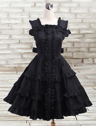 Sexy Lady Knee-length Sleeveless Black Cotton Gothic Lolita Dress