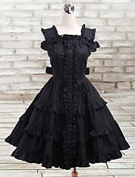 Sexy Lady Knee-length Sleeveless Black Cotton Gothic Lolita Dress