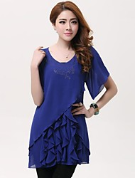 Women'S Diamond Flounced Chiffon Dress