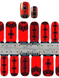 yemannvyou®2x14pcs estilo chinês lanternas vermelhas da arte do prego adesivos s1148