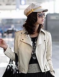Women's Casual Coat Rivet Tip Collar Zipper Coat