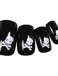 24PCS White Skull Design Black Nail Art Tips With Glue