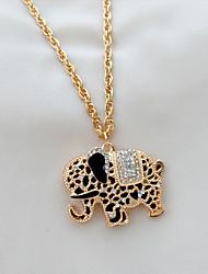 moda siyun ponta tailândia elefante em forma de embutidos colar longo com strass