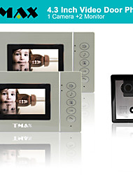 "TMAX® 4.3"" LCD Video Door Phone Doorbell Home Entry Intercom 500TVL Night Vision (1Camera to 2Monitors)"
