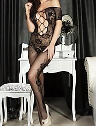 Women's Open Crotch Rose Pattern Lace Body Stockings