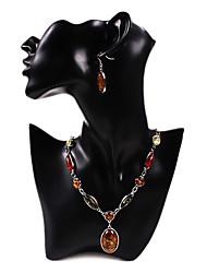 multicolores de mode de forme ovale colliers d'alliage d'argent-oreilles ensembles de bijoux vintage