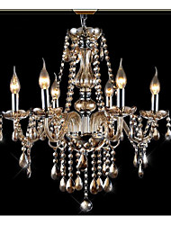 6 Lights,European Crystal Chandelier In Cognac Color , Crystal & Glass