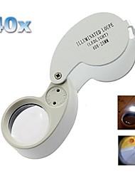 Draagbare 25mm-40X Juweliers vergrootglas met 2-witte LED zaklamp / Geld Detector (3 x LR1130)