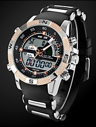 Men's Military Style Gold Case Multi-Functional Dual Time Zones Rubber Band Wrist Watch