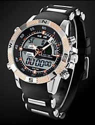 Herren Sportuhr Quartz Japanischer Quartz LCD Kalender Chronograph Wasserdicht Duale Zeitzonen Alarm Caucho Band Schwarz Marke