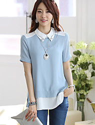 Hanyiou Doll Collar Short Sleeve Loose Fit Splicing Color Shirt