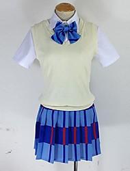 Inspiriert von Liebesleben Maki Nishikino Anime Cosplay Kostüme Cosplay Kostüme Schottenmuster Blau Kurze ÄrmelWeste / Shirt / Rock /
