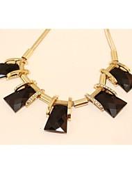 Women's Glass Stone Short  Snake Bones Chain Necklace
