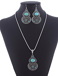 Индивидуальный Hollow Kallaite С А кальян Pandent Сплав серебра (ожерелья & серьги &) Камень Ювелирные наборы