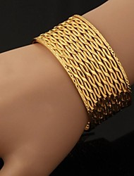 U7® Big 18K Chunky Gold Plated Cuff Bracelet Bangles For Men or Women Bracelets