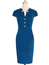 Women's Work Sheath Dress,Solid Asymmetrical Knee-length Short Sleeve Blue Others Summer