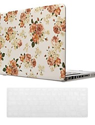 Beautiful Rose Pattern PC Hard Case with Keyboard Cover Skin for MacBook Pro