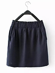 Women's Linen Washing Elastic Waist Little Skirt