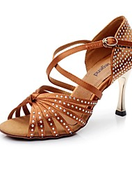 Women's Satin Diamond Golden Heels  Latin Dance Shoes Sandals(More Colors)