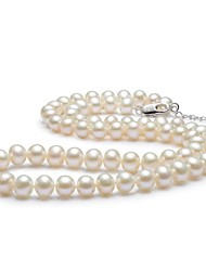gNpearl® Women's Classic Single Stranded 7-8MM Freshwater Pearl Necklace - 45cm