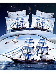 Ailianna 4 Piece 3D Ship Print Duvet Set