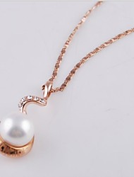 Women's Fashion Alloy Gold Rhodium Plated and Shell Pearl  Pendant Necklace