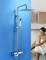 HPB™  Contemporary Chrome Brass Shower Faucet with Air Injection Technology Shower Head