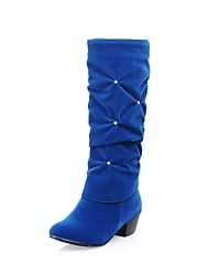 Women's Chunky Heel Round Toe Knee High Boots(More Colors)