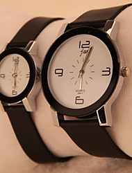 Men's Women's Couple's Quartz Leather Band Brown