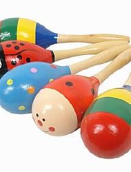 Children's Wooden Cartoon Music Bell Sand Hammer of Educational Toys