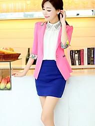 moda elegante de color caramelo impresión floral chaqueta delgada de vestir exteriores de las mujeres