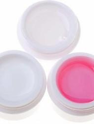 3PCS Nail Art Gel UV (1 Effacer et 1 blanc et 1 rose)