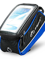 INBIKE 5.5 Inch Polyester and EVA Black and Blue Bicycle Front Bag with Transparent PVC Touchable Mobile Phone Screen