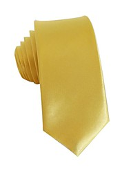 Solide Couleur jaune de mode Narrow Cravate Polyester Cravate de loisirs d'hommes