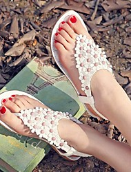 Women's Low Heel Flip Flops Sandals with Cloth Flowers Shoes(More Colors)