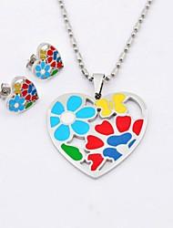 Collane di modo multicolore del fiore Simbolo di cuore d'acciaio di titanio e orecchini dei monili Sets