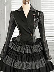 Manga de la chaqueta de la rodilla-longitud larga Negro y Grises Falda Classic Lolita Trajes