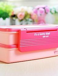 Plastic Double-deck Japanese Bento Lunch Box,21x10x8.5cm random color