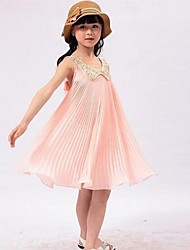 De encaje de cuello redondo plisado vestidos de gasa de una sola pieza de la muchacha