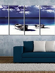 Stretched Canvas Art Shore And Boat Set of 4