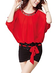 mini vestido de cuello redondo de las mujeres, gasa azul / rosa / / verde sexy / partido rojo