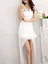 Sexy White Gauze Nightclub Dovetail Irregular Vestido das mulheres