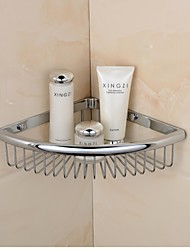 Chrome Finish Triangle Single Shelves Brass Material Wall-mounted Bathroom Soap Basket