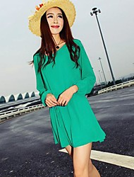 Women's Solid Green/Beige Dress , Casual Round Neck Long Sleeve