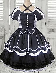 Mysterious Girl Knee-length Short Sleeve Black Cotton Gothic Lolita Dress