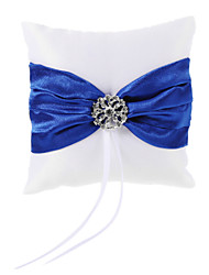 White Ring Pillow In Blue/Red Satin With Rhinestone(More Colors)