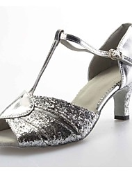 Customizable Women's Dance Shoes Ballroom/Latin Leather/Sparkling Glitter Customized Heel Silver